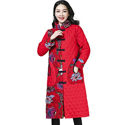 Fantastic Prices! Bsjmlxg Women Winter Folk-Custom Print Patchwork Coat Button Down Flowers Ethnic F...