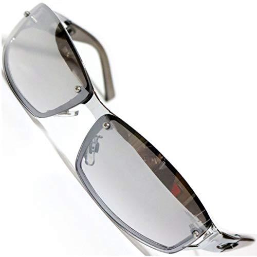 シルバー×グレーミラーハーフ サングラス 度なしメガネ ファッションメガネ めがね 眼鏡 メンズ レディース 丸 四角 透明 色付き 小さい 大きい 軽い ゴルフ 運転 車 釣り 登山 uvカット 紫外線カット 1040136-F-127