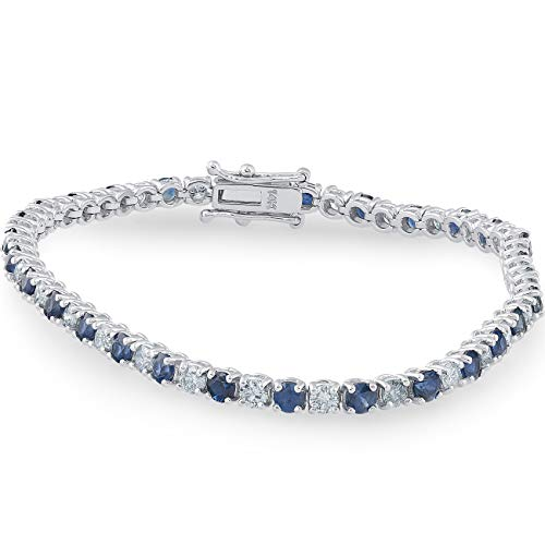 5ct Blue Sapphire & Diamond Genuine Tennis Bracelet 14K White Gold
