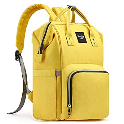 HaloVa Diaper Bag Multi-Function Waterproof Travel Backpack Nappy Bags for Baby Care, Large Capacity, Stylish and Durable, Yellow