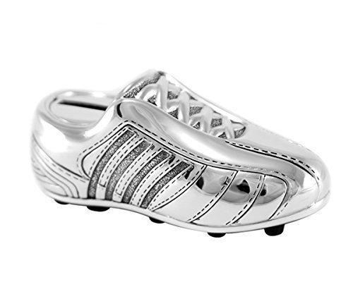Brillibrum Hucha de diseño de bota de fútbol – bañado en plata resistente al deslustre ideal para pequeños jugadores de fútbol – Hucha de metal – Idea de regalo para niños