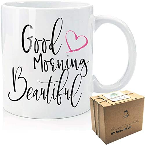 Good Morning Beautiful with Love Graphic Design Coffee Mug Funny Gifts Idea for Woman Lady Fashion product image