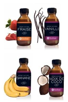 Set di 4aromi naturali: fragola, vaniglia, banana, noce di cocco