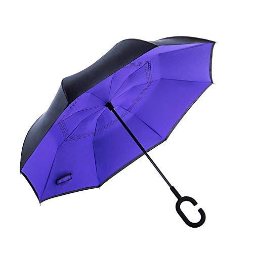 AmaGo Windproof Inverted paraplu - UV-bescherming dubbellaags omgekeerde opvouwbare paraplu met C-vormige handgreep voor auto, regen outdoor reizen