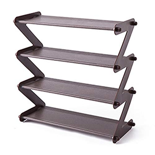DALADA Zapatero de 4 capas en forma de Z apilable y ampliable zapatero para ahorrar espacio. Ahorra espacio en la estantería de almacenamiento, fácil de desmontar, puerta, entrada, armario