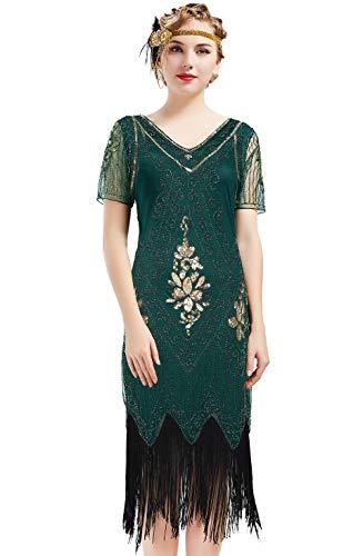 ArtiDeco 1920s Kleid Damen Flapper Kleid mit Kurzem Ärmel Gatsby Motto Party Damen Kostüm Kleid (Dunkelgrün, XXXL)
