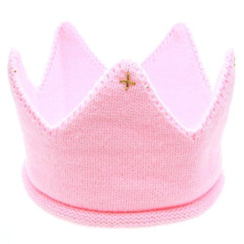 Hunpta @ Neue süße Baby Jungen Mädchen Krone Strick Stirnband Hut (Rosa)