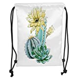 FFLISHD Gym Bag Printed Drawstring Sack Backpacks Bags,Cactus Decor,Vector Image with Watercolor Cactus with Spikes and Alluring Flowers Print,Blue and White Soft Satin