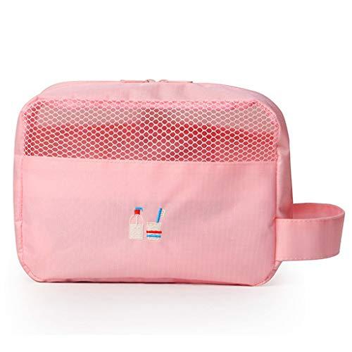 Hkwshop Sac Organiseur Sac Multifonction Sac cosmétique de Toilette Maquillage Portable Pouch Sac Voyage for Les Femmes Portable Makeup Case (Color : Pink)