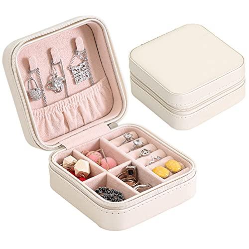 DMDMJY Mini caja organizadora de joyas, caja de almacenamiento portátil para viajes, caja de almacenamiento para anillos, pendientes, collares, regalos para niñas y mujeres, color blanco
