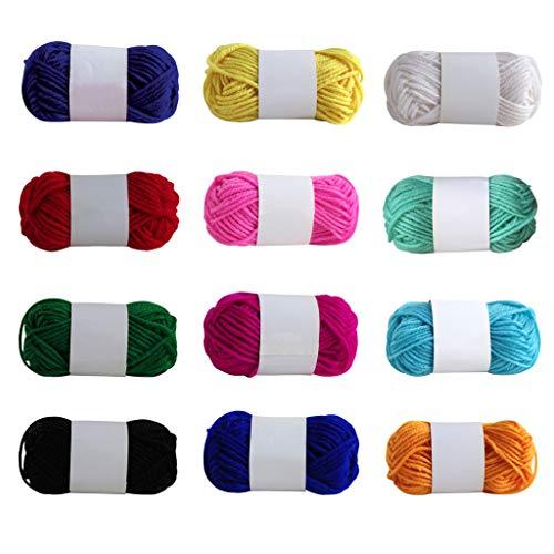Eariy 12 stuks acrylwol - gehaakte garen meerkleurige breigol, gehaakte wol weefgarenpakketten, kleurwol garenpakketten in 12 heldere kleuren