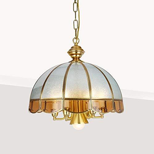 Faus Koco Lámpara Americana Lámpara De Cobre Retro Sala De Estar Estudio Dormitorio Lámpara De Cobre Lámpara Europea Restaurante Lámpara Diámetro 40 * 40 Cm (E27 * 1, E14 * 6)