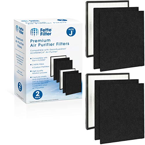 Fette Filter - Premium H13 True HEPA Replacement Filter J Compatible with GermGuardian FLT5900 for AC5900WCA Air Purifier (2 Hepa 4 Carbon)