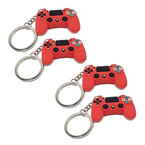 4 piezas de PVC duradero controlador de videojuego manija colgante llavero joyería moda llavero pulseras
