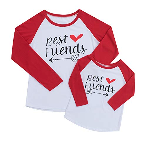 Mom and Me Letter Print Best Friends Raglan Long Sleeve Baseball T-Shirt Tops Momther and Daughter Matching Clothes (3-4T, Kid Girl)