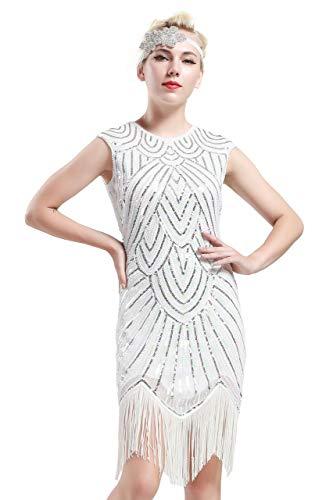 BABEYOND Damen Kleid voller Pailletten 20er Stil Runder Ausschnitt Inspiriert von Great Gatsby Kostüm Kleid (L (Fits 76-86 cm Waist & 94-104 cm Hips), Weiß)