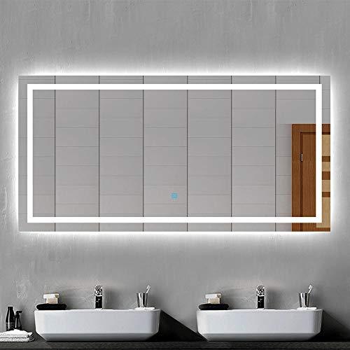 Xinyang LED Badspiegel Badezimmerspiegel 160x80 mit Beleuchtung Lichtspiegel Wandspiegel mit Touch-Schalter beschlagfrei IP44 energiesparend Kaltweiß