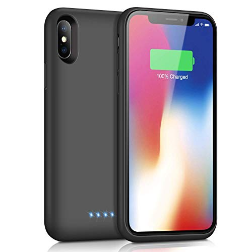 Ekrist Battery Case for iPhone X/XS/10, [Upgraded 6500mAh] Portable Ultra-Slim Protective Charging Case, Extended Rechargeable Smart Battery Pack, Backup Charger Case Cover (5.8inch-Black)