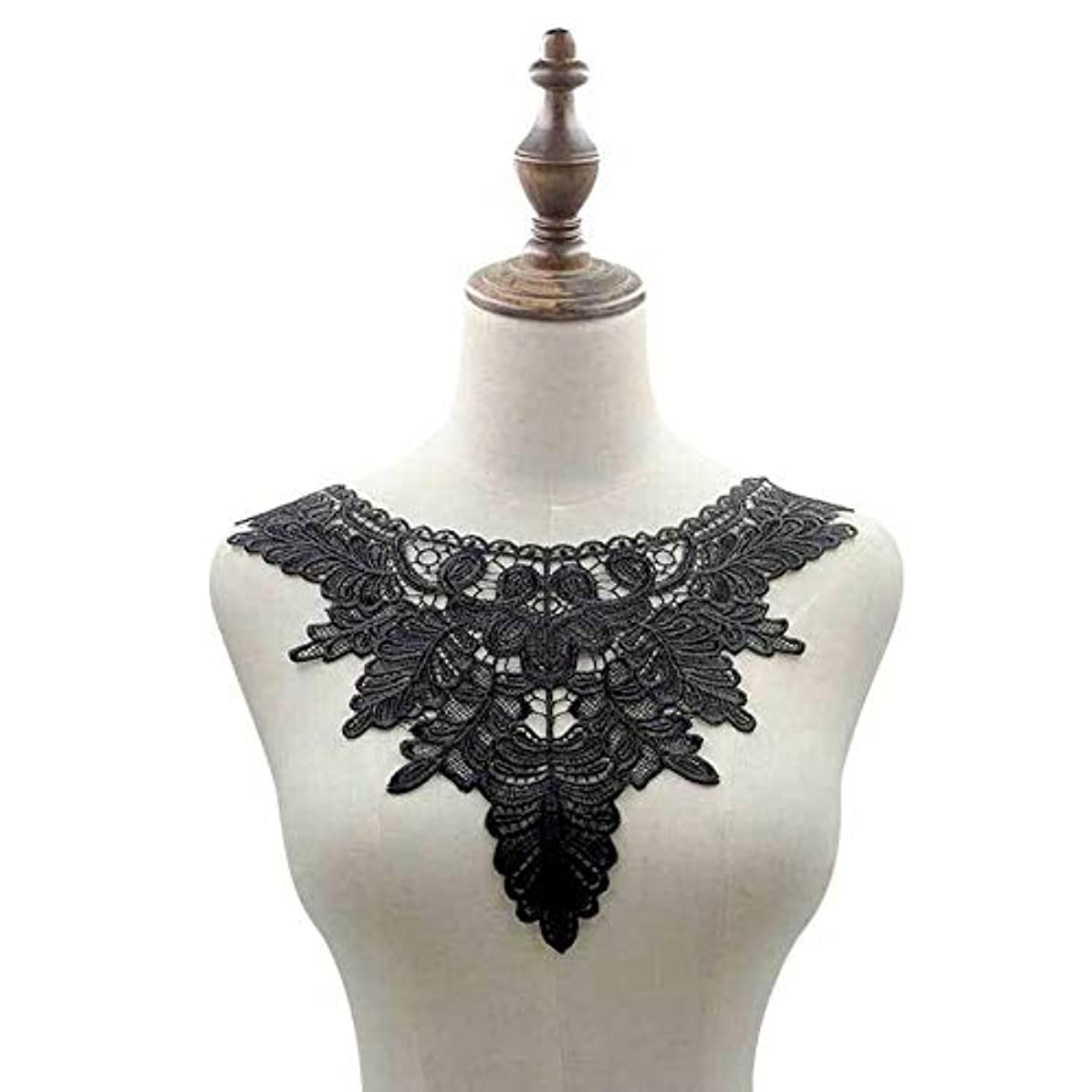 Black Embroidered Lace Trim Patches DIY Collar Lace Applique Trim Fabrics for Patchwork Sewing Supplies (Style 10)