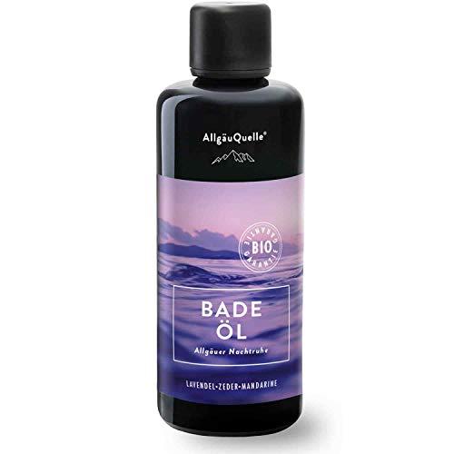 BIO-Badeöl mit 100% Bio-Öle Allgäuer Nachtruhe Lavendel Zeder Mandarine (100ml). Natürlicher BIO-Badezusatz m. ätherische Öle. BIO Bade-Essenz natrurrein und biologisch.