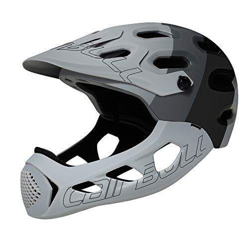 SUCHUANGUANG Casco Integrale Motocicletta Fuoristrada per Fuoristrada MTB per Bicicletta da Cross-Country Extreme Sports Saf Casco Grigio