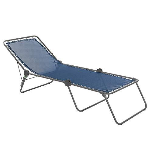 Lafuma Sonnenliege, Klappbar mit verstellbarem Rückenteil, Mit Schnürsystem, Siesta L, Batyline, blau