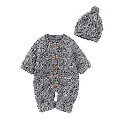 Neugeborenes Baby Strick Strampler Hut Set Säugling Schneeanzug Bodysuit Overalls für Jungen Mädchen(6-12 Monate, Grau)