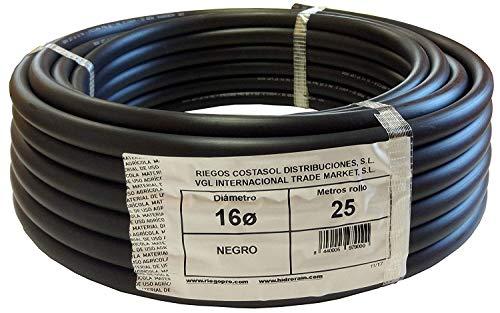 Riegopro Bewässerungsschlauch, glatt, schwarz, für Tropfbewässerung, 16 mm, 25 Meter Rolle