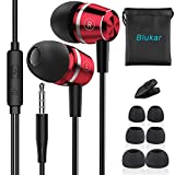 Blukar Auriculares In Ear, Auriculares con Cable y Micrófono Headphone Sonido Estéreo para iPhone, Samsung, Huawei, XiaoMi, PC, MP3/MP4 Android y Todos los Dispositivos de Auriculares de 3,5 mm(Rojo)