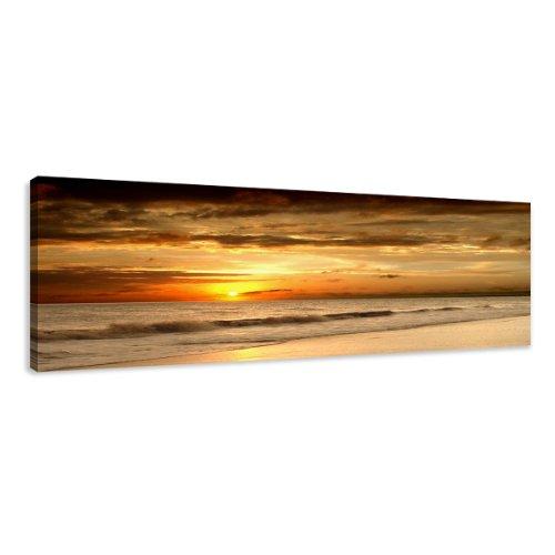 Bilder auf Leinwand 120x40cm Nr. 5703 Bild Strand fertig gerahmt einteilig Marke original Visario Kunstdruck Wandbild