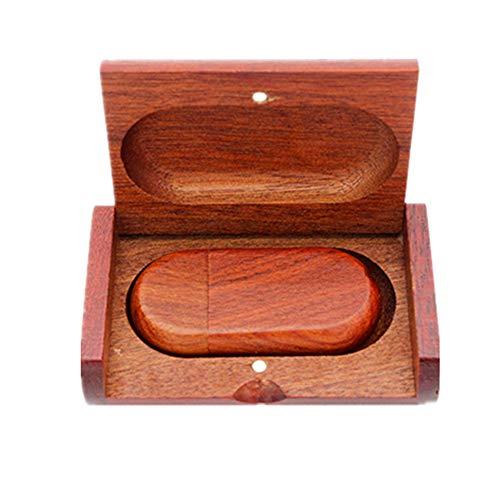 Memoria USB de madera de 128 GB con caja de madera (3.0 128 GB, madera roja)