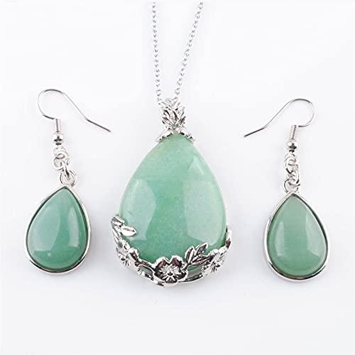 QWEQWE Aventurina Natural Reiki Chakra Beads Pendientes Colgantes Conjunto Collar de Cadena Pulgadas Joyería