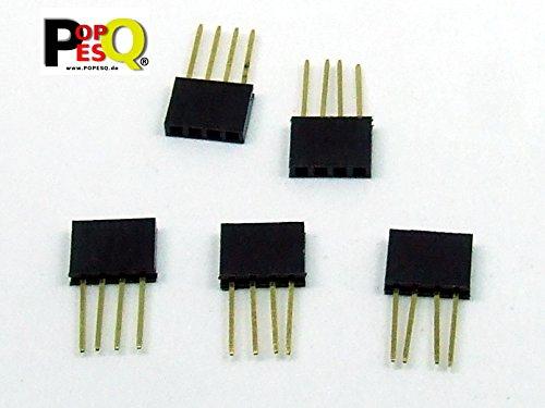 POPESQ® - 5 STK. / pcs. x BUCHSENLEISTE/Header Stapelbar/Stackable 4 polig/pin 2.54mm PCB THT #A2049