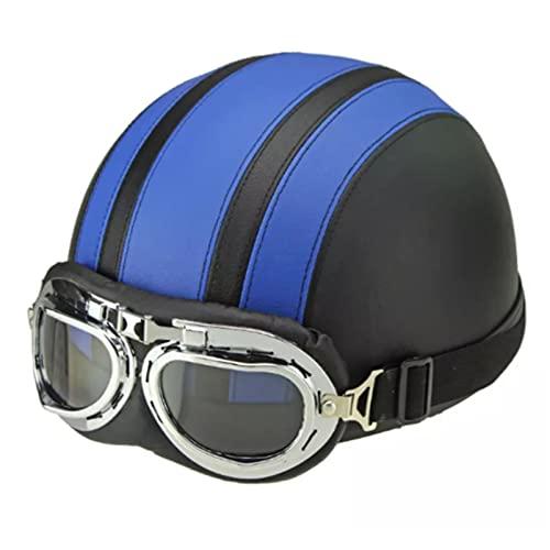 SACKDERTY Casco de Motocross con máscara de Gafas, Medio Casco de Motocicleta de Calle, Casco de ATV para ciclomotor y ciclomotor Bike Cruiser, Certificado por el Dot (55-60 cm)