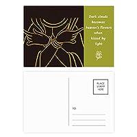 仏教の宗教の手をバストのパターン 詩のポストカードセットサンクスカード郵送側20個