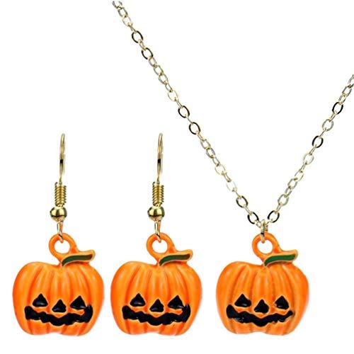Amoyer Kürbis Ohrringe Halskette Set Chic Kristallschmuck Dekorationen Halloween Danksagungs-Geschenk-Set 1