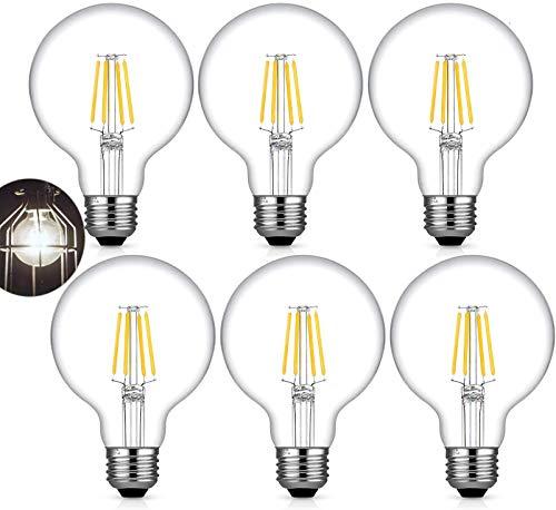 G25 Edison Led Globe Light Bulb 40W Equivalent, Soft Warm White 2700K, Kohree 4W E26 Dimmable Vanity Light Bulb for Bathroom, Pendant Lighting, Ceiling Fan, Chandelier, 400 Lumens, 6 Pcs