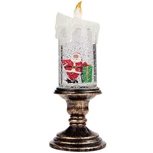 BELLE VOUS Schneekugel Kerze Weihnachten - Schneelaterne mit Weihnachtsbaum LED Kerze (26x10cm) - Weihnachtsdeko Innen Beleuchtet mit Wasser & Glitzer Gefüllte Bronze Laterne – Weihnachts Tischdeko