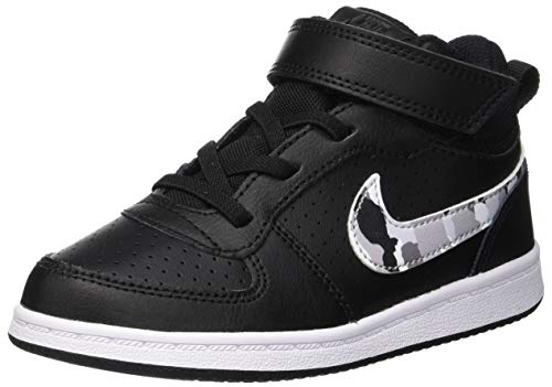 Nike Unisex-Kinder Court Borough Mid (TDV) Basketballschuhe, Mehrfarbig (Black/Multi-Color-Pure Platinum-White 008), 25 EU