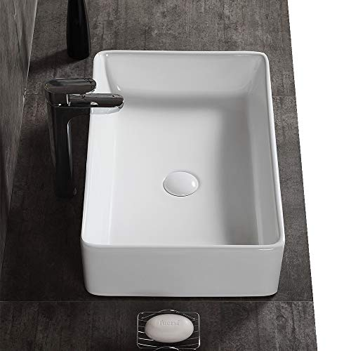Best Price! AWESON 23 Inch x 15 Inch Rectangular Vessel Sink, Ceramic Bathroom Sink Rectangular, Abo...