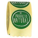 ETINOVA ALI02 - Etiquetas adhesivas, pegatinas, stickers, Alimentación, cosmética, perfumería, droguería -'Producto Natural' - Rollo de 250 piezas - 35 mm