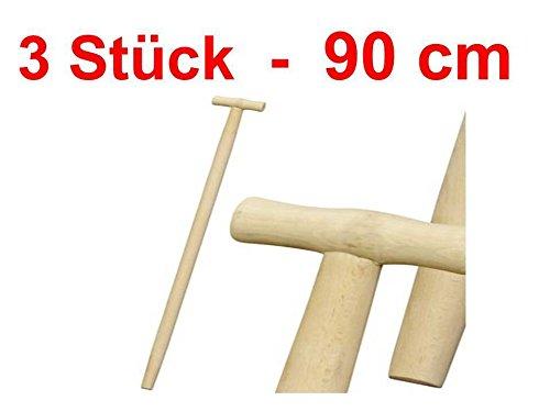 3 x Stanmot Lot de 3 manches de fourche, bêche, pelle, manche en bois en T, 90 cm, diamètre de 36, hêtre