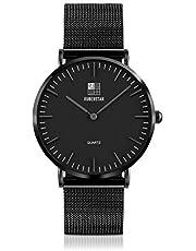 RUBEUSTAN [Amazon限定ブランド] 腕時計 メンズ 防水 超薄型 (ブラック)