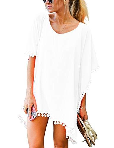 heekpek Vestido de Playa Mujer Ropa de Baño Suelto Camisolas y Pareos Bikini Cover up Verano Pompón Gasa Manto Protector Solar