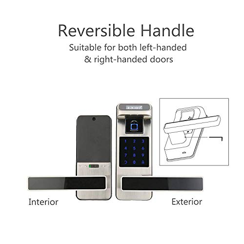 Newest Fingerprint and Touchscreen with OLED Display Screen keyless keypad Entry Door Lock, Fingerprint Door Lock, Passcode Door Lock, Smart Lever Door Lock for Office Home, 2020 New Model (Sliver)