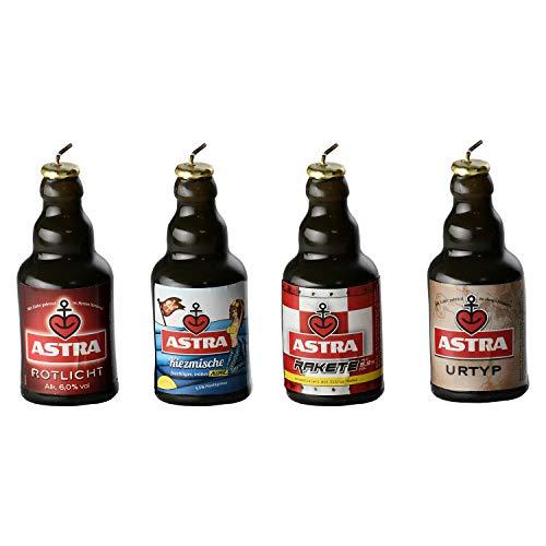 ASTRA Bier Knollen-Kerzen 4er Set Kiezmische, Urtyp, Rotlicht, Rakete