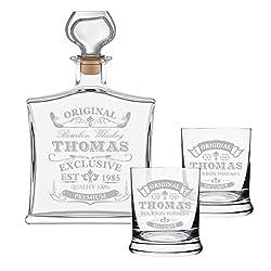 polar-effekt 3-TLG Geschenk-Set mit Whiskeyflasche und 2 Leonardo Whiskygläser - Edle Glas-Karaffe Inhalt: 700ml - Personalisiert mit Gravur - Motiv Original-Exklusive