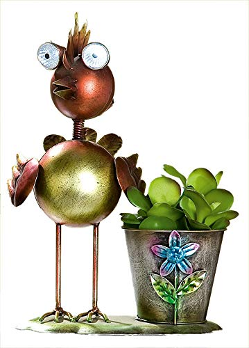 GILDE metalen plantenvogel met plantenpot plantenbak bloempot van metaal met zonnelamp rood 18 x 28 cm | trendy tuindecoratie of kamerdecoratie