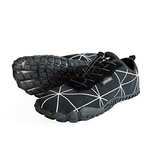 Ventury Zero Trail-Laufschuhe - Minimalistische Barfußschuhe mit viel Zehenfreiheit, Nullabsatz-Sohle und Geruchsloser Innensohle mit Echtem Silbe für Damen und Herren (246MM - EU 39, Schwarz)