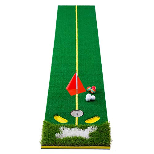 SSeir Indoor Golf Hitting Pad Putting Matten met Cue En Ball Gras Praktijk Mat Launch Pad Putting Praktijk voor Volwassen Kind Achtertuin Outdoor Home Office